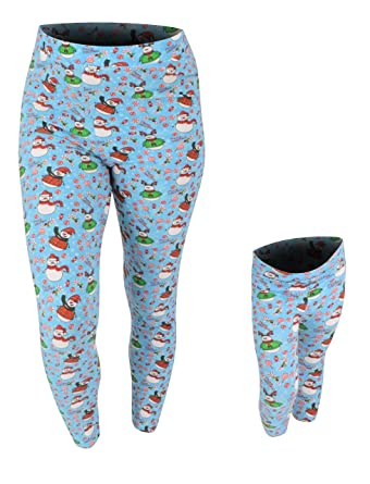 7bda07ecf734ac Unique Baby Womens Christmas Snowman Leggings Matching Mommy and Me (S) Blue