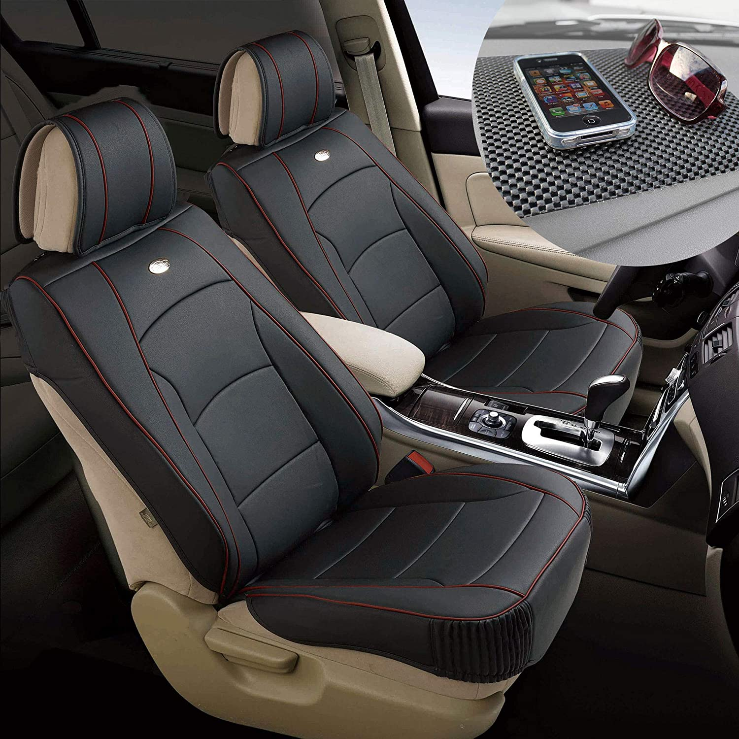 TLH Ultra Comfort Leatherette Seat Cushions Front, Black Red Trim Color w/Non Slip Dash Mat