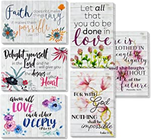 60 Inspirational Cards with Envelopes, Bulk Bible Verse Quote Scripture Greeting Cards, Religious Motivational Encouragement with Floral Design, 4 x 6 Inches