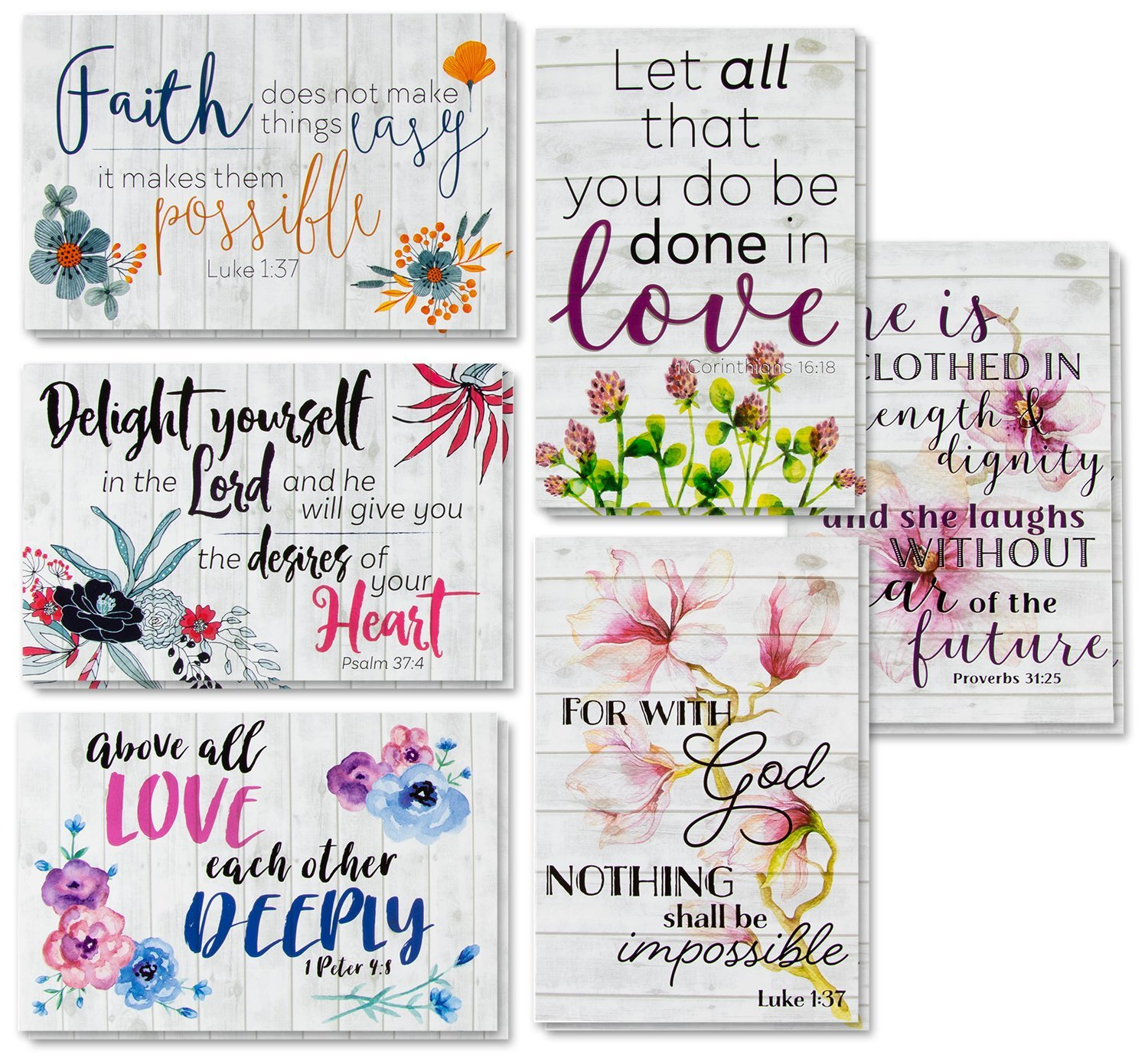 Best Paper Greetings 60-Pack Inspirational Religious Floral Note Cards with Envelopes - 6 Bible Verse Designs, 4 x 6 Inches