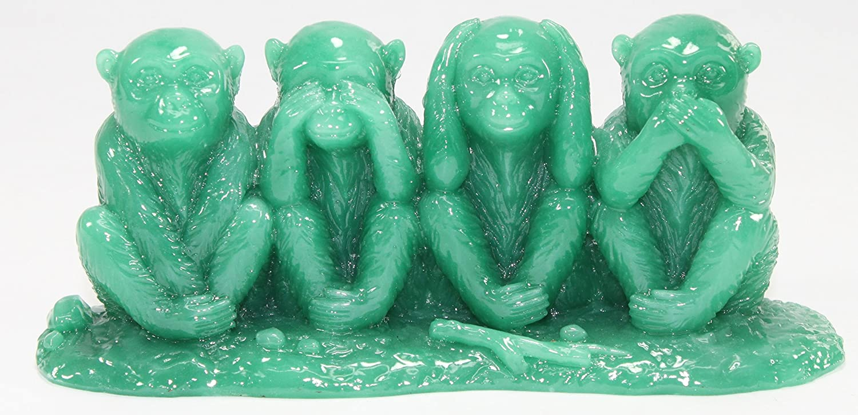 Hear No Evil Speak No Evil Monkey Statue Figurine Feng Shui Green See No Evil