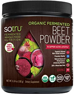 SoTru Beet Root Powder - 6.34 oz. - Supports Active Lifestyle & Optimal Nitric Oxide Function - 100% Whole, Organic Fermented Beet Root - Non-GMO, Vegan, Gluten-Free - 30 Servings
