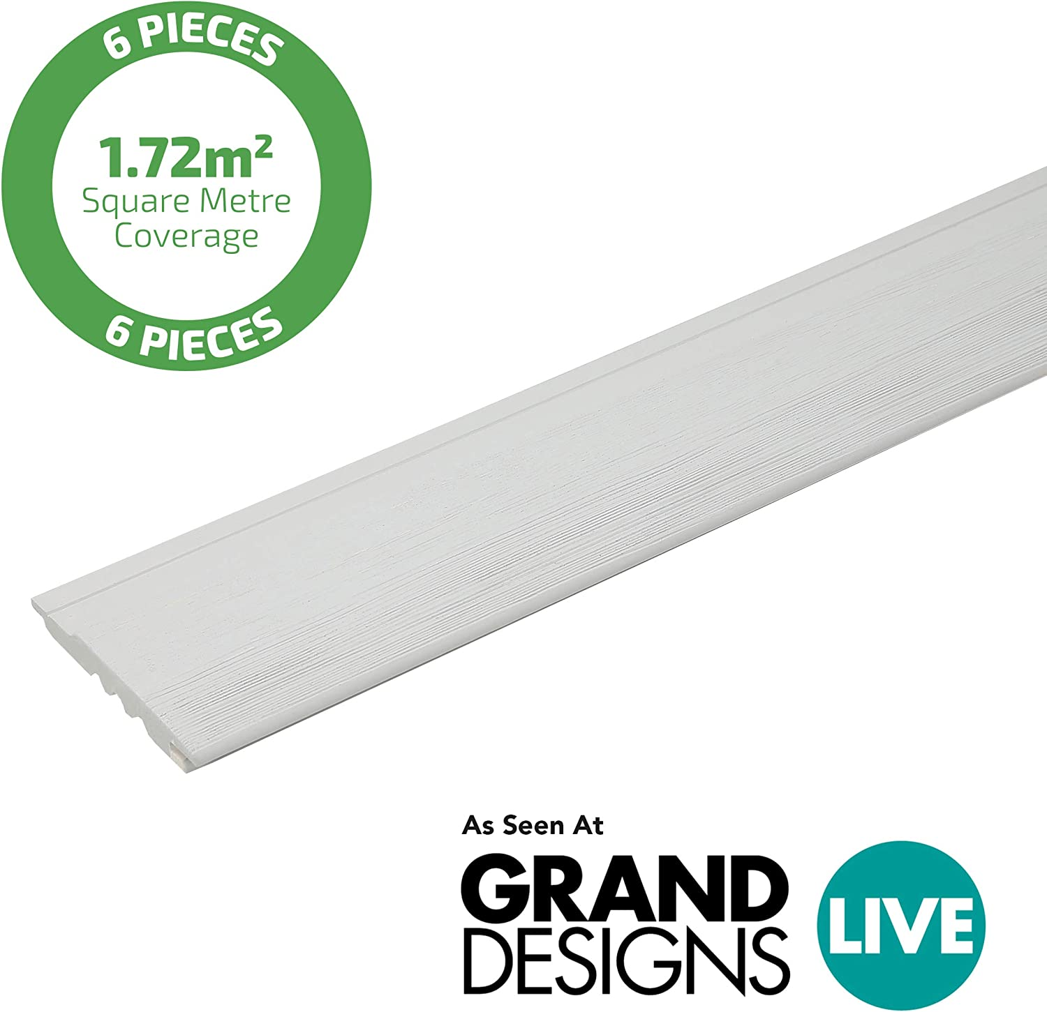 6 Pack 1.72m2 Tongue and Groove Secret Fix Profile Shiplap 19x146mmx2.357mtr for Both Horizontal or Vertical Cladding Light Grey Timber Cladding