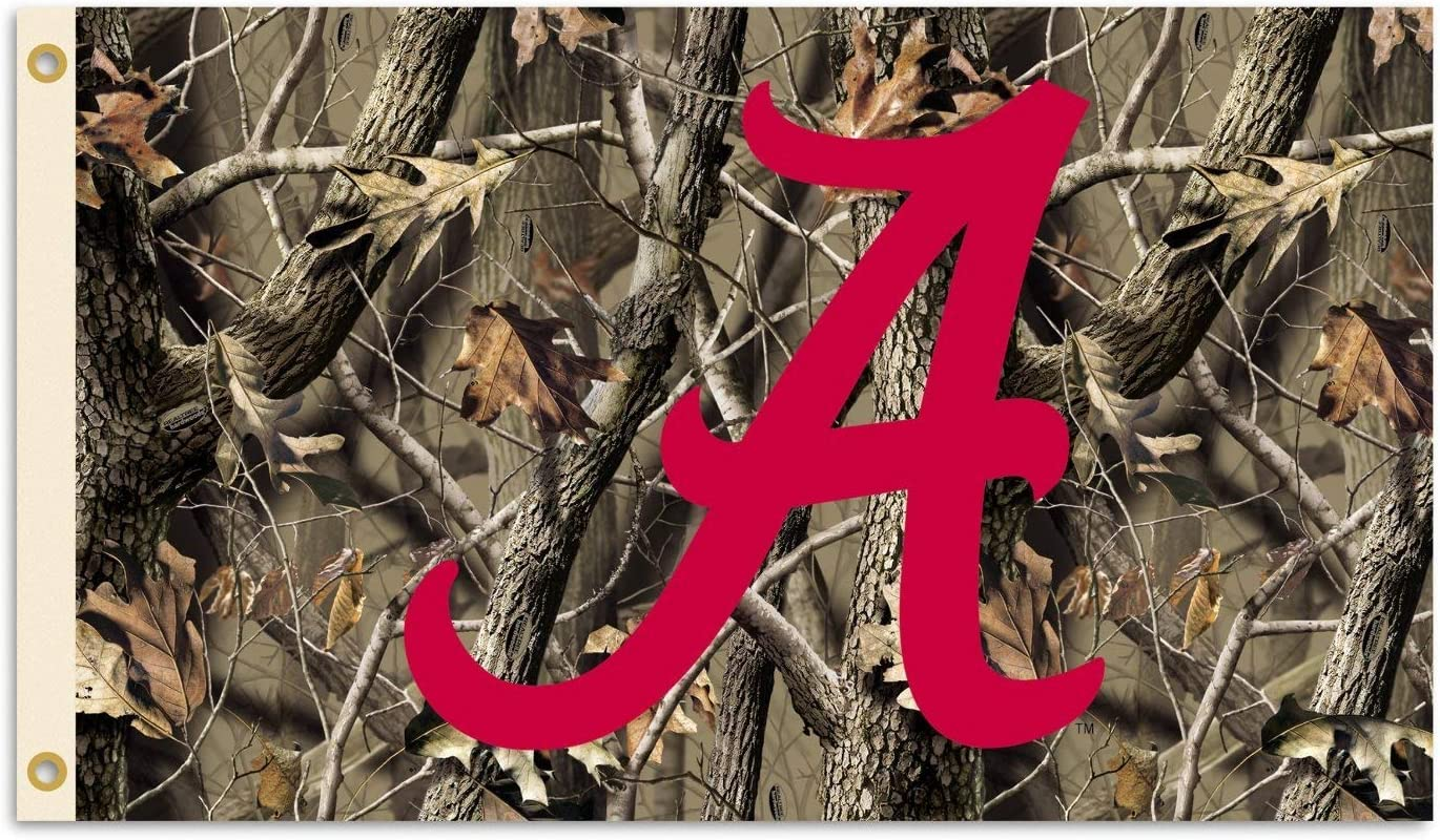 NCAA Alabama Crimson Tide 3-by-5 Foot Flag with Grommets - Realtree Camo Background
