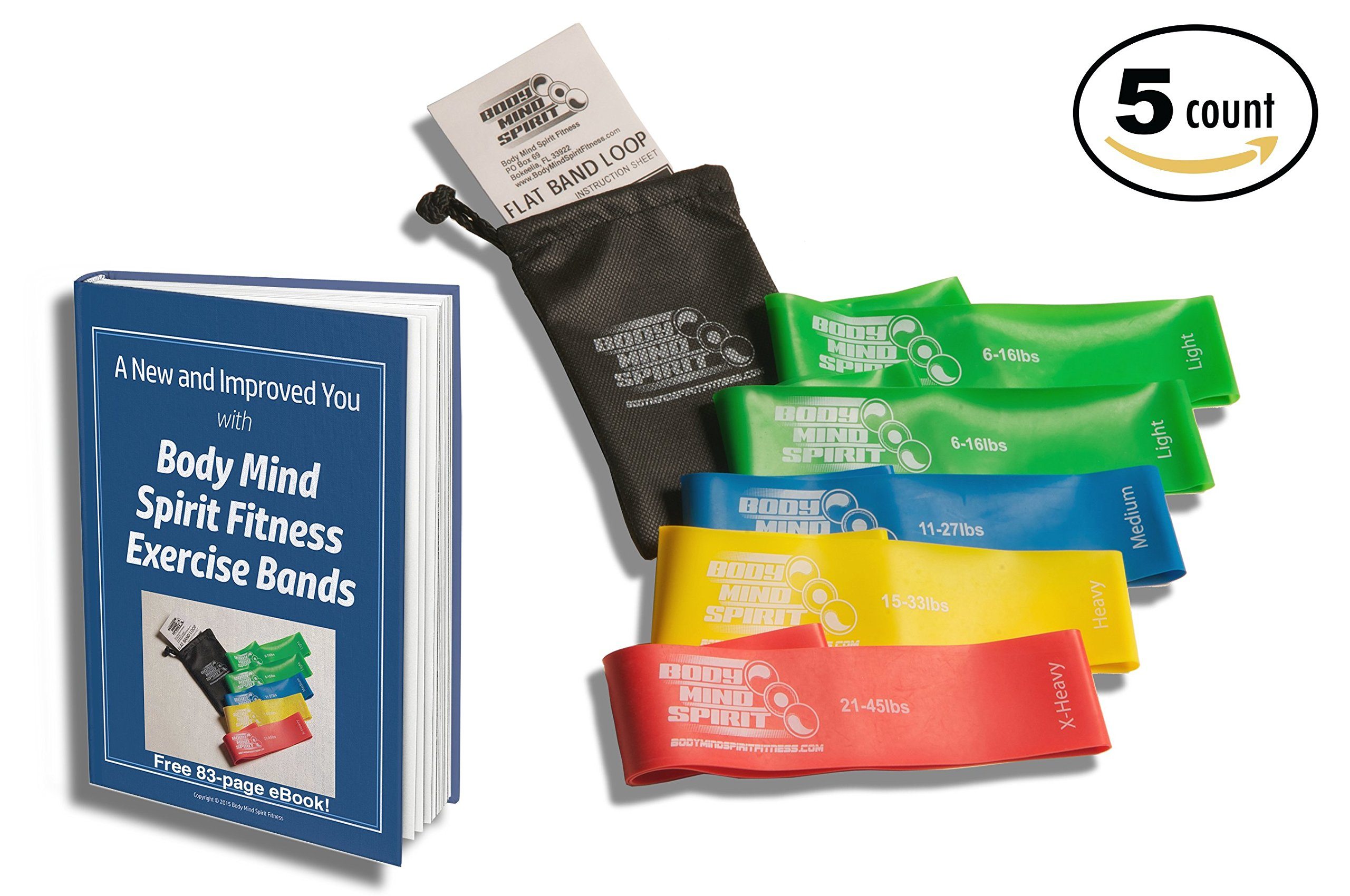 5 Exercise Bands / 2 Light, 1 Medium, 1 Heavy & 1 Extra Heavy / Bonus Carrying Case / FREE E-BOOK by Body Mind Spirit Fitness