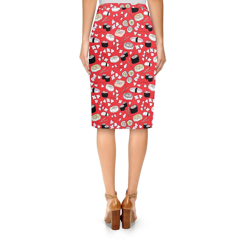 Sushi Cherry Blossom Midi Pencil Skirt