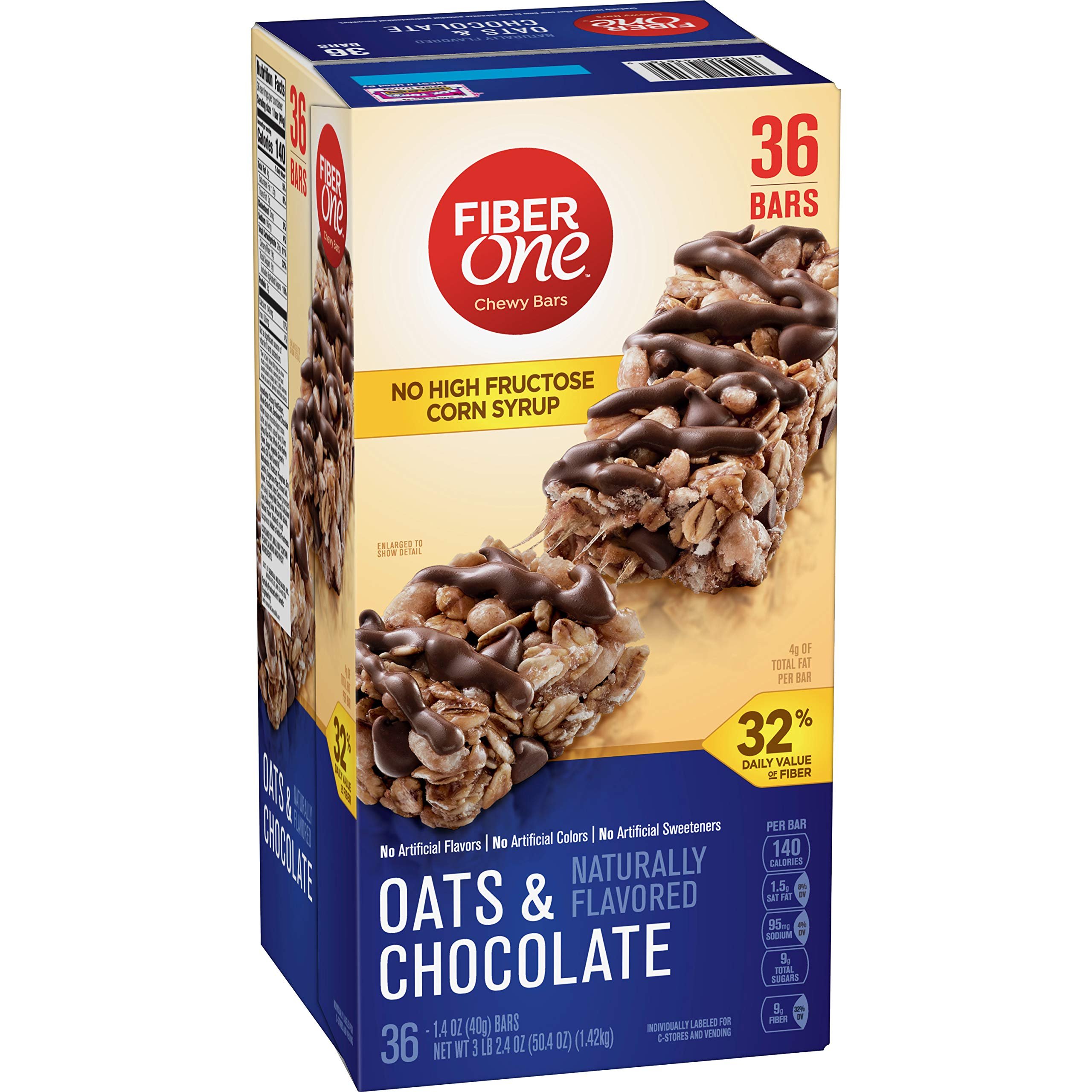 Fiber One Chewy Bars, Oats and Chocolate, 36-1.4oz Bars by Fiber One