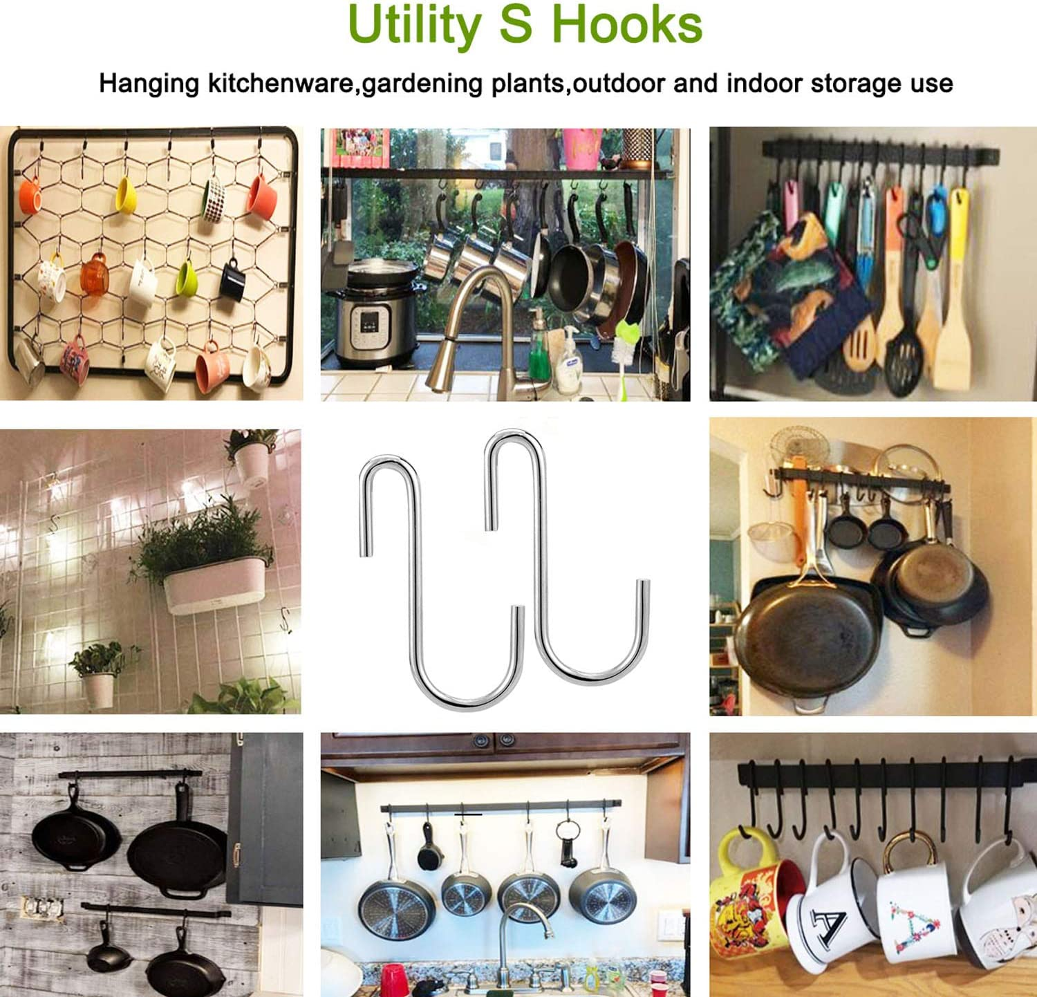 10 S Shaped Hooks for Bathroom Bedroom Office Kitchen to Hang Pots Pans Plants