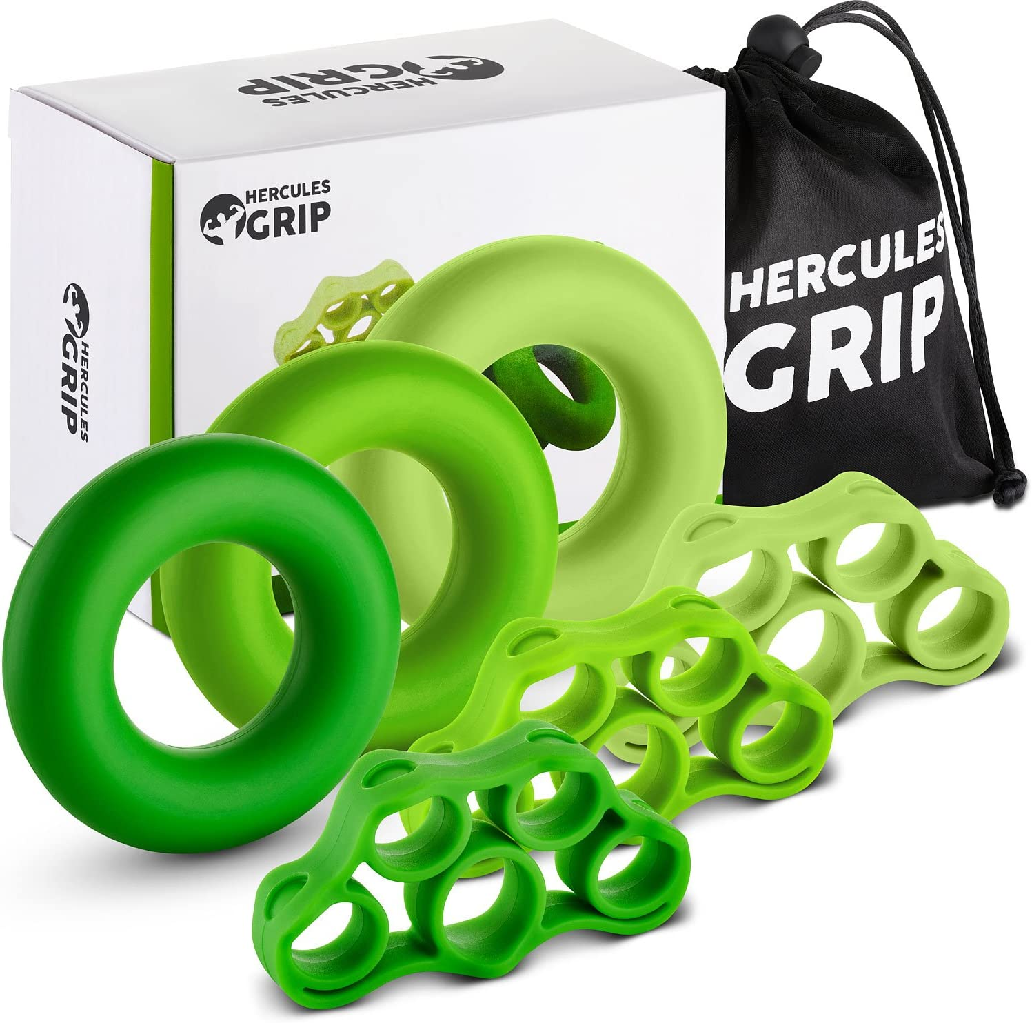 HerculesGrip Hand Grip Strengthener Forearm Workout Kit – 6 Pack -Grip Ring Finger Stretcher -3 Resistance Levels – Easy, Medium, Heavy – Increase Strength, Improve Dexterity Speed Up Recovery