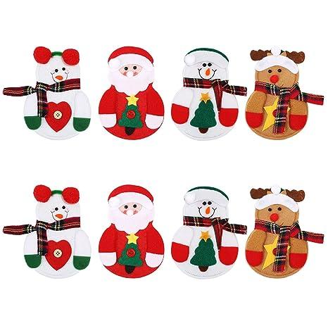 Sumind 8 Piezas de Bolsa de Cubiertos de Navidad Funda de Cuchillos Tenedores Bolsa de Vajilla