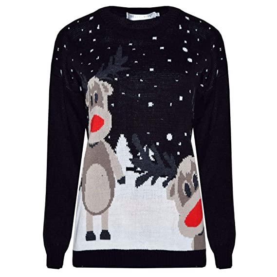 afb77640c42d Made by Blush Avenue® Ladies Mens Long Christmas Reindeer Retro ...