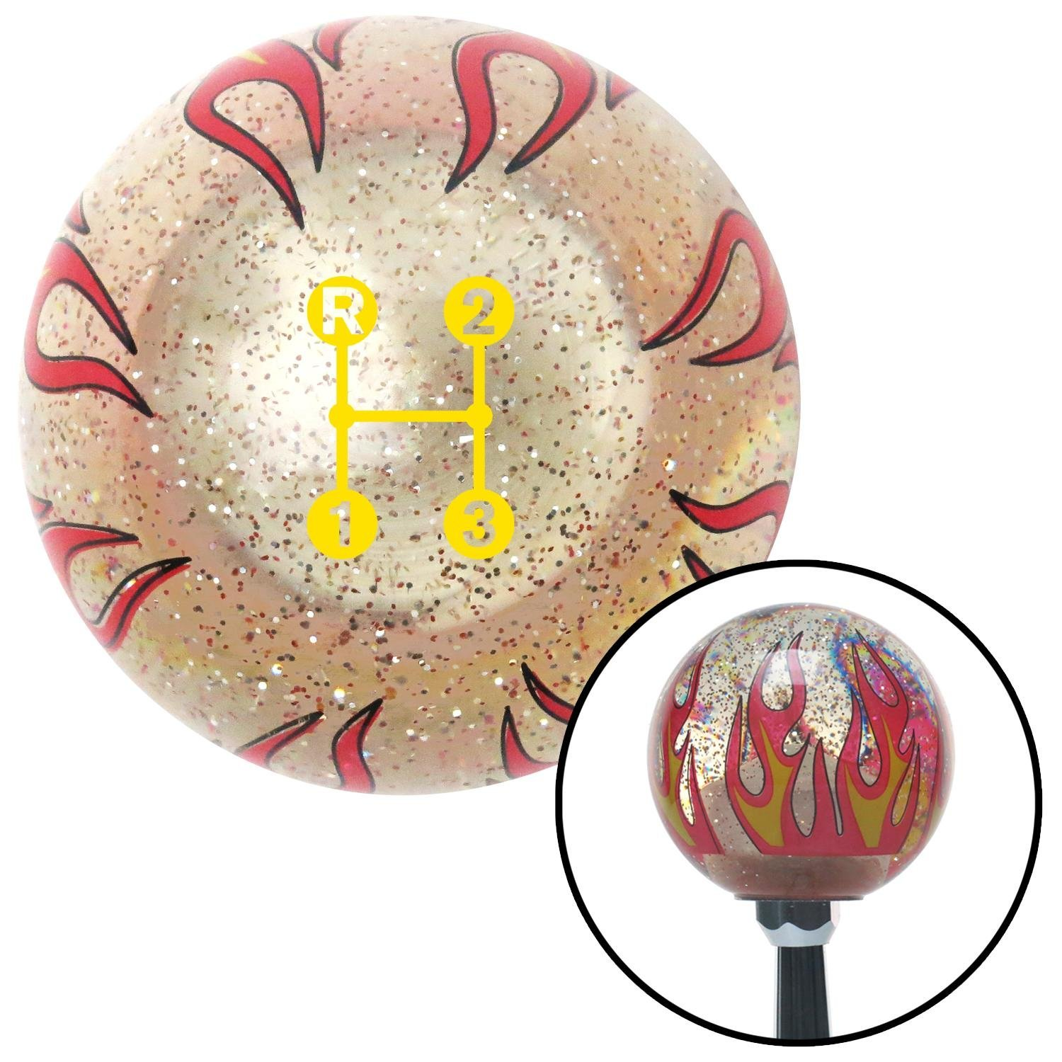 American Shifter 295940 Shift Knob Yellow 3 Speed Shift Pattern - Dots 11n Clear Flame Metal Flake with M16 x 1.5 Insert