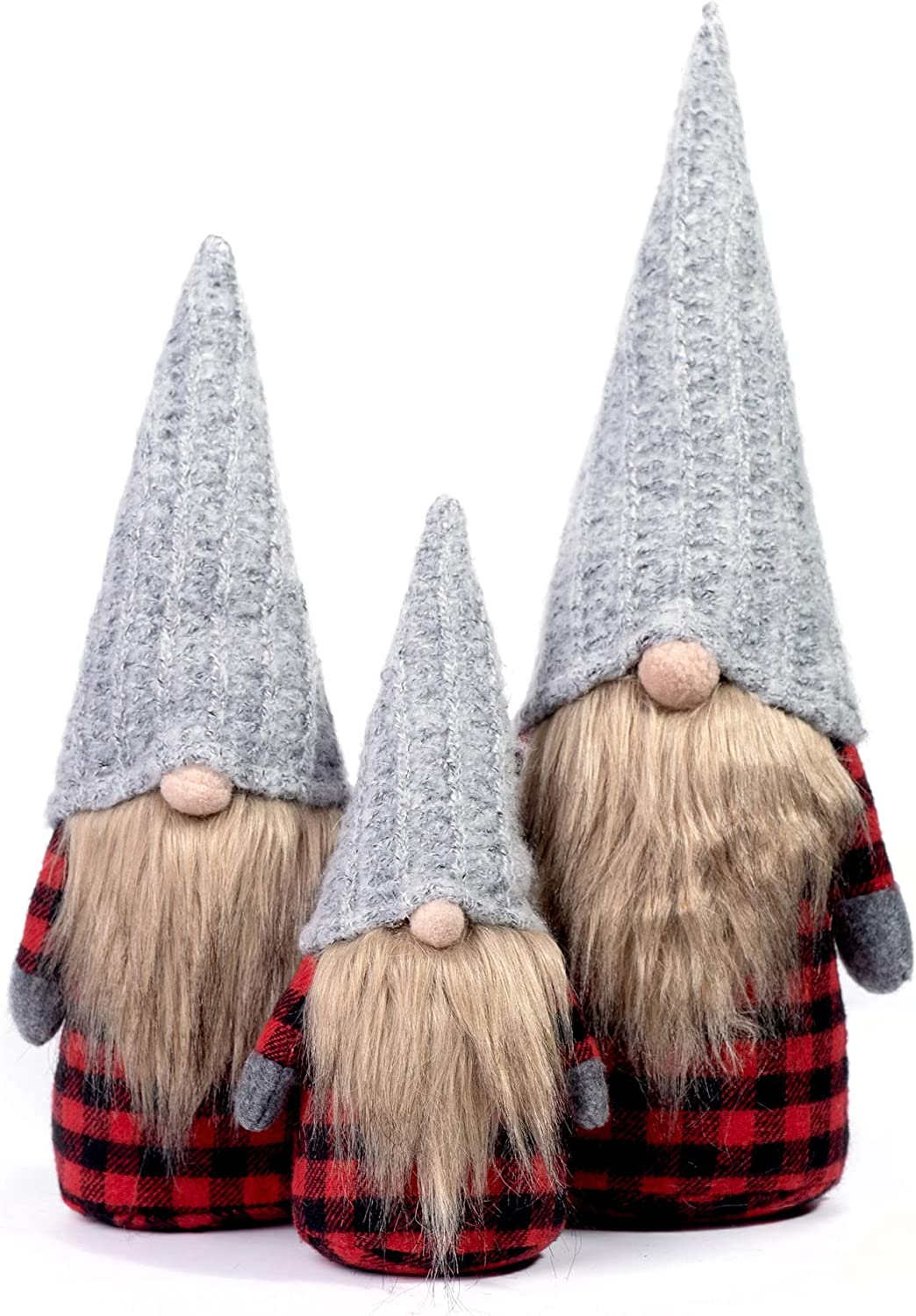 ITOMTE Handmade Swedish Gnome, Scandinavian Tomte, Yule Santa Nisse, Nordic Figurine, Plush Elf Toy, Winter Table Ornament, Home Christmas Decorations, Holiday Presents - Family Pack of 3, Red Tartan