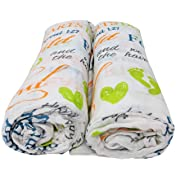 Scripture Strong 1 Samuel 1:27 | Best Muslin Baby Swaddle Blanket Gift Set | 100% Cotton Receiving Blankets | Extra Large (4'x4')