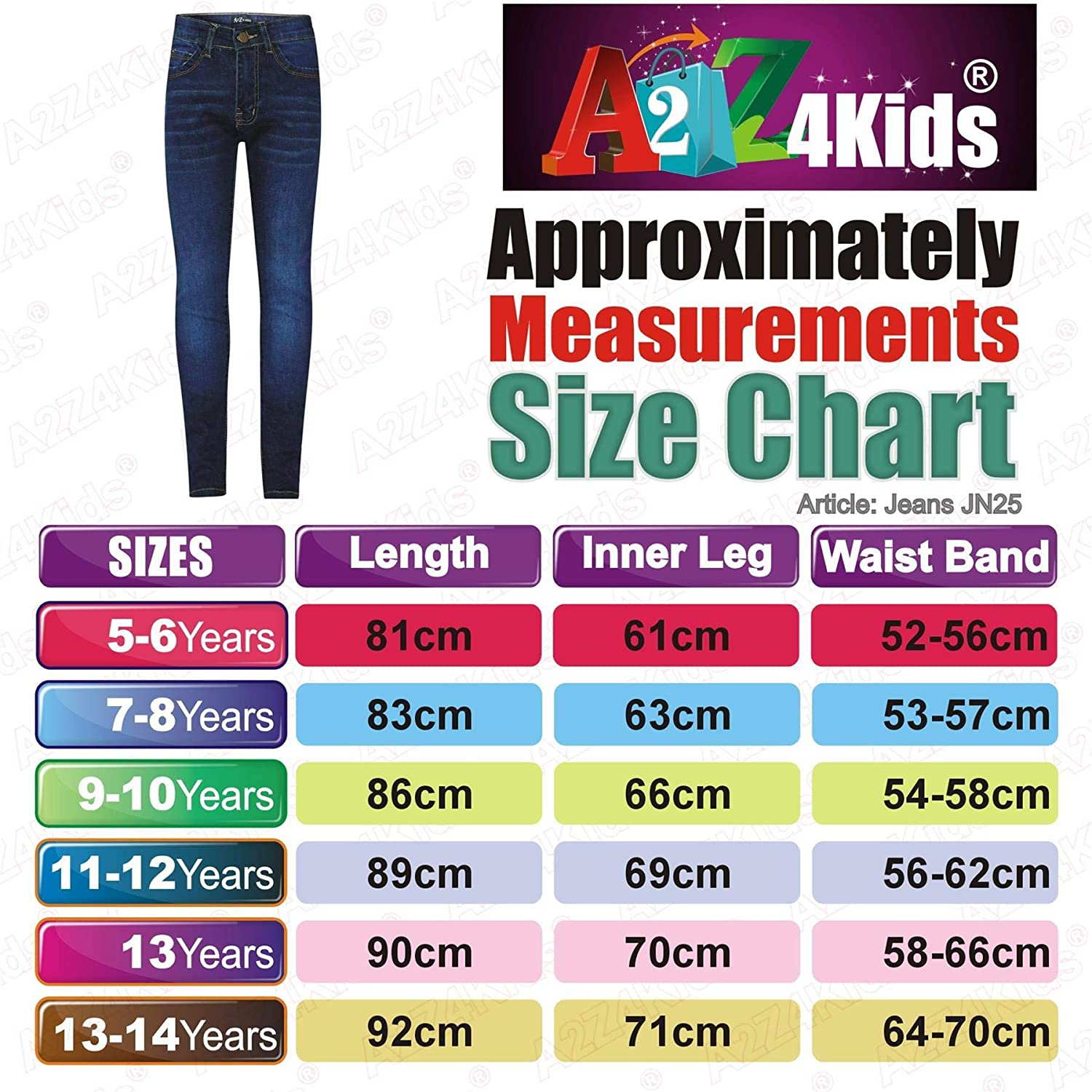 A2Z 4 Kids Kids Girls Skinny Jeans Designers Dark Blue Denim Stretchy Pants Fashion Fit Trousers New Age 5 6 7 8 9 10 11 12 13 Years
