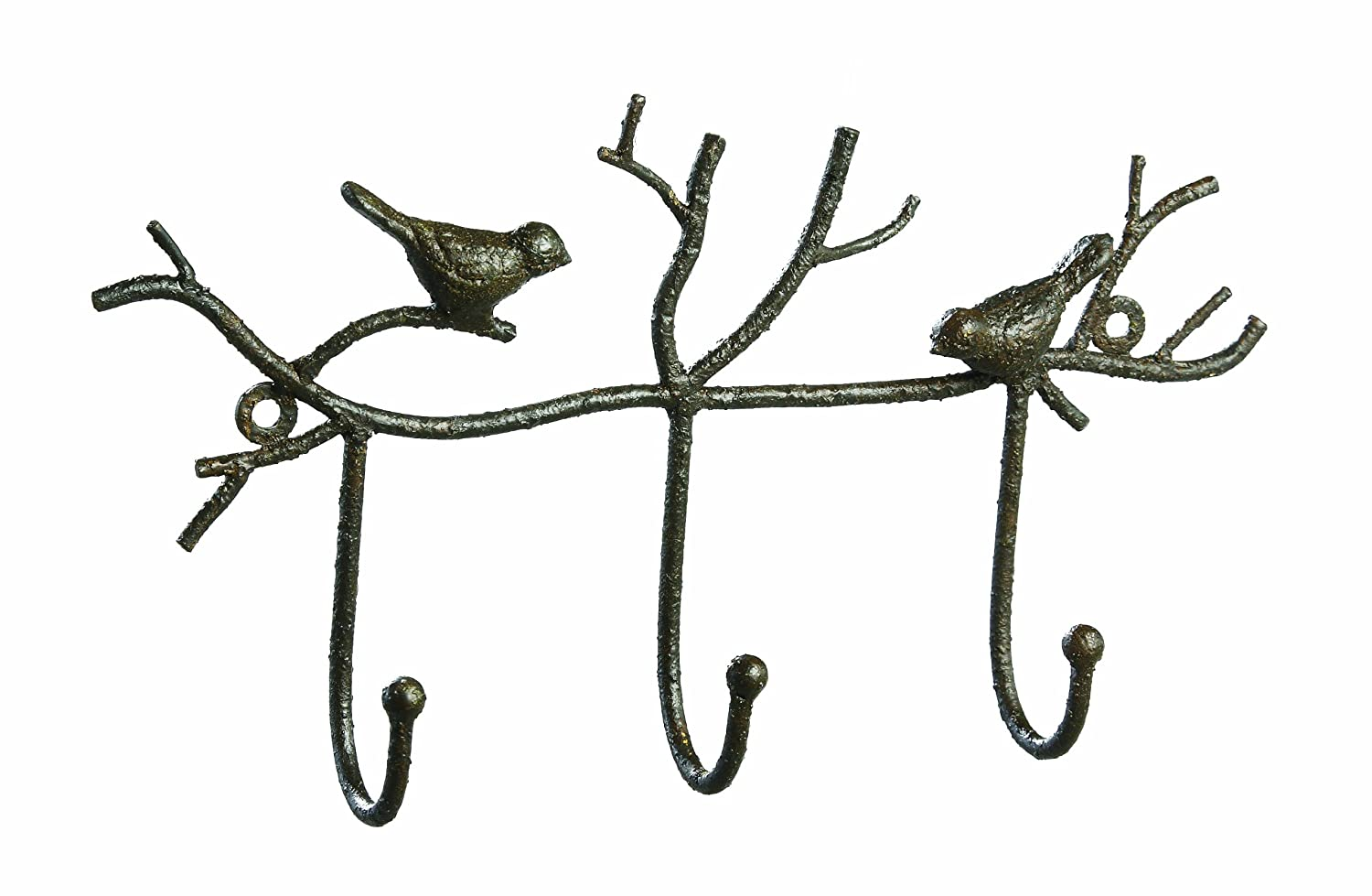amazoncom creative coop metal twig and bird wall hooks rust home u0026 kitchen