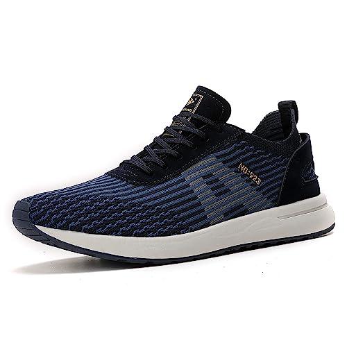 AX BOXING Zapatillas Hombres Deporte Running Sneakers Zapatos para Correr Gimnasio Deportivas Padel Transpirables Casual 44 EU A9608 Azul
