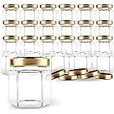 Gojars Hexagon Glass Jars 1.5oz Premium Food-grade. Mini Jars With Lids For Gifts, Wedding Favors, Honey, Jams And More. (24,