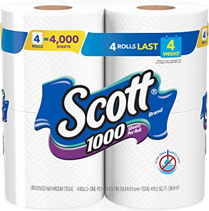 Amazon Com Scott 1000 Sheets Per Roll Toilet Paper 4 Rolls Bath Tissue Health Personal Care