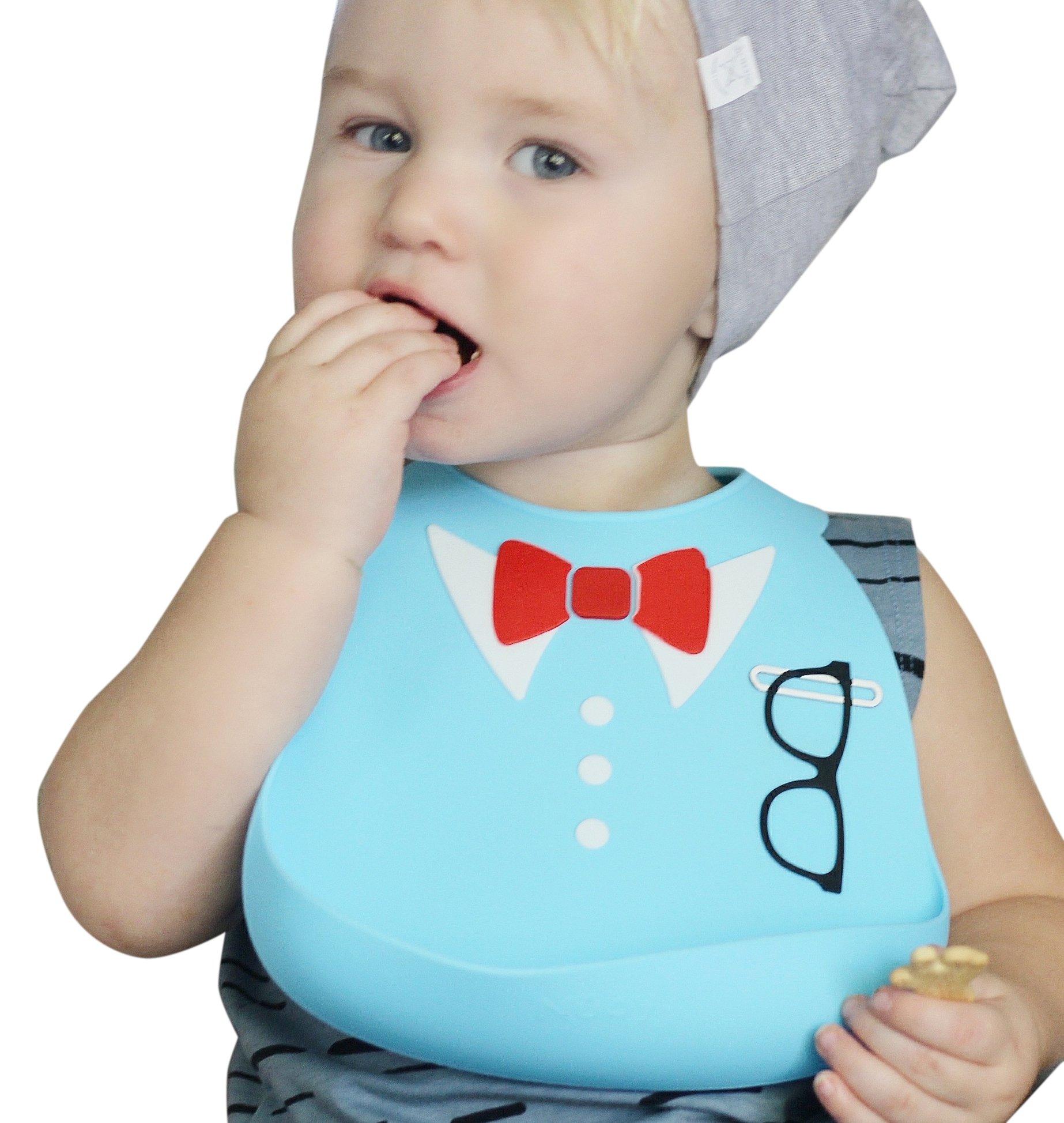 Nuby On-the-Go 3-D Silicone Feeding Bib, Blue Bow Tie