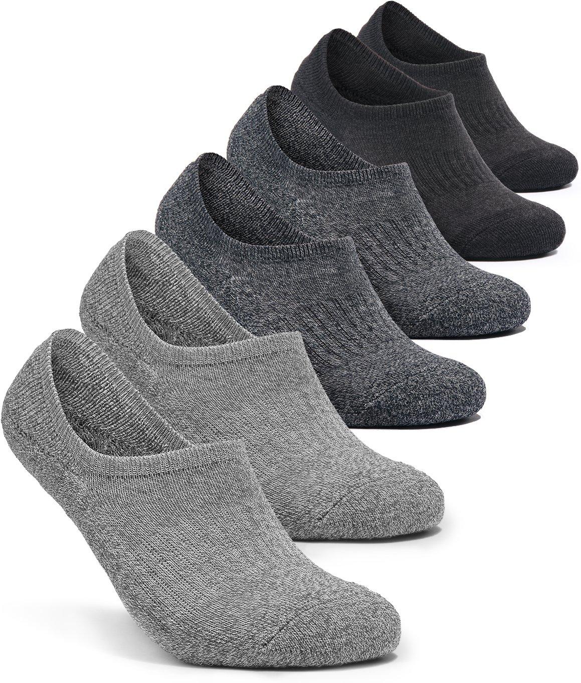 Tesla TM-MZS07-GDC_Medium 6-Pairs Unisex No-Show Casual Fashion Socks w Heel Silicone Grips MZS07 by Tesla