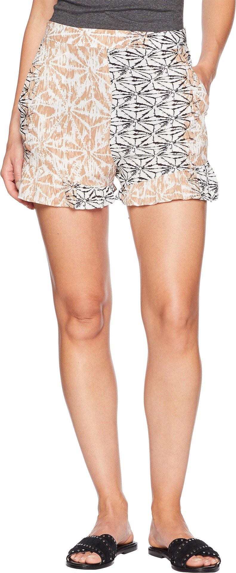BCBGMAXAZRIA Women's Ruffle Shorts Tan Combo Small