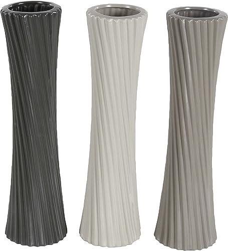 Deco 79 87721 Ribbed Ceramic Vases Set of 3 , 3 x 23 , Black White Gray