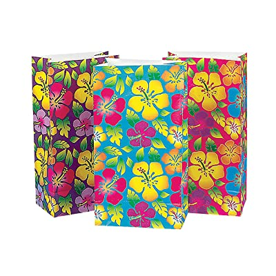 Fun Express Hibiscus Print Paper Bags for Party (1 Dozen) Party Supplies, Paper Treat Bags, Luau Themed: Toys & Games