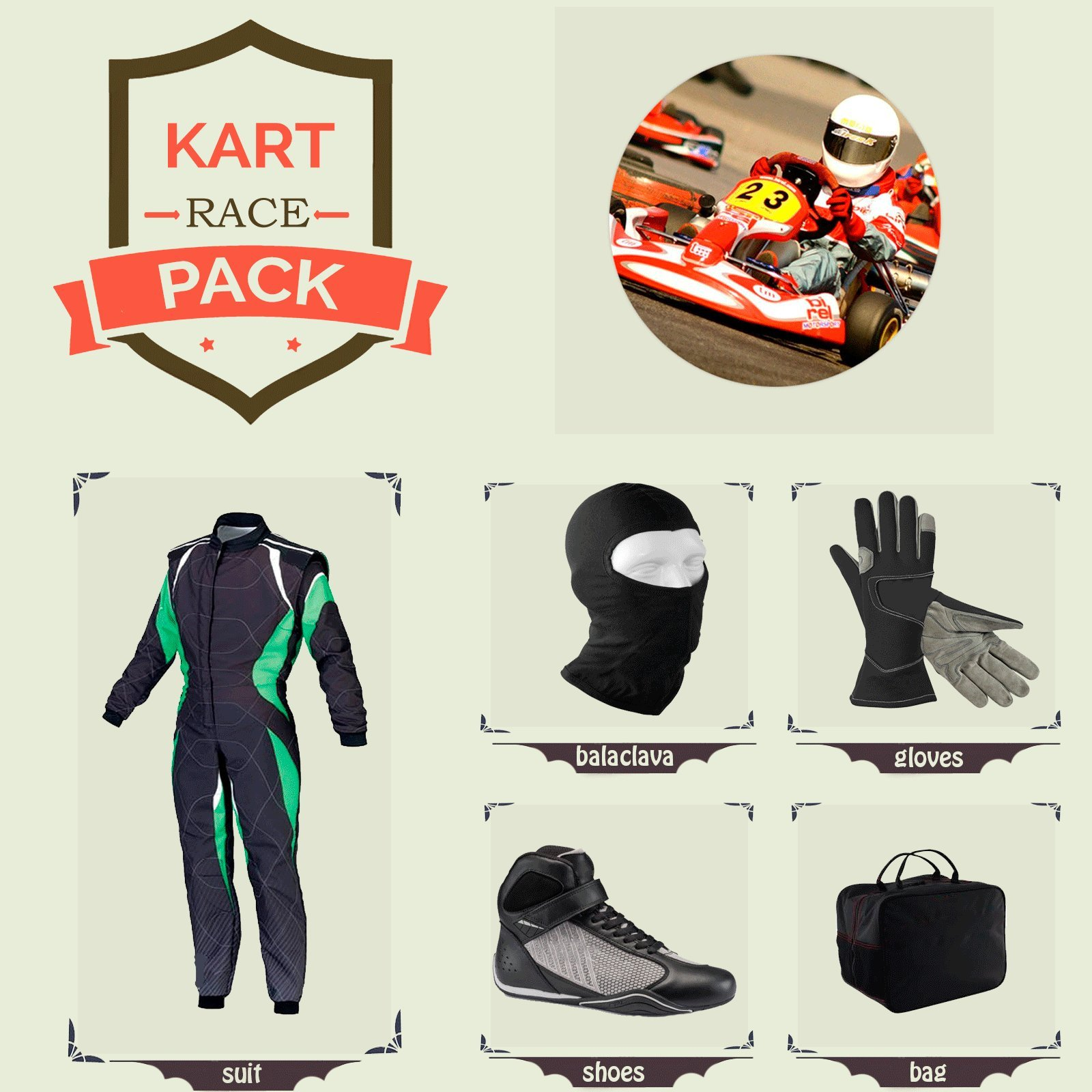 Sports Blue Go Kart Racing Suit Suit,Gloves,Balaclava and Shoes free bag - Black With Green White Style