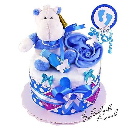 Pañales para tartas/PAMPERS Tarta > Baby regalo para joven en un bonito tono azul