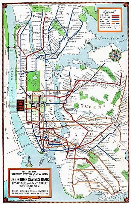 1940 Nyc Subway Map.Amazon Com New York Subway Map 1940 Nmap Of The Subway System Of