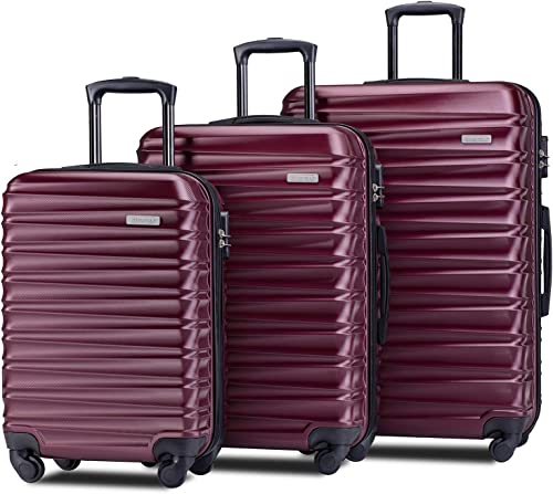 Merax Afuture Luggage Set Hardside Lightweight Spinner Suitcase 20 24 28 Red2019