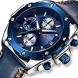 Relojes Hombre Relojes de Pulsera Militares Deportivo Impermeable Cronógrafo Luminosos Diseñador Reloj de Cuero Azul Lujo Moda Calendario Analógico Cuarzo