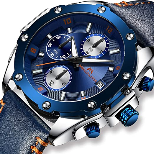 5d6f3df54cd0 Mens Watches Men Military Designer Chronograph Waterproof Sports Leather  Wrist Watch Business Casual Luminous Date Analogue Watches for Man   Amazon.co.uk  ...