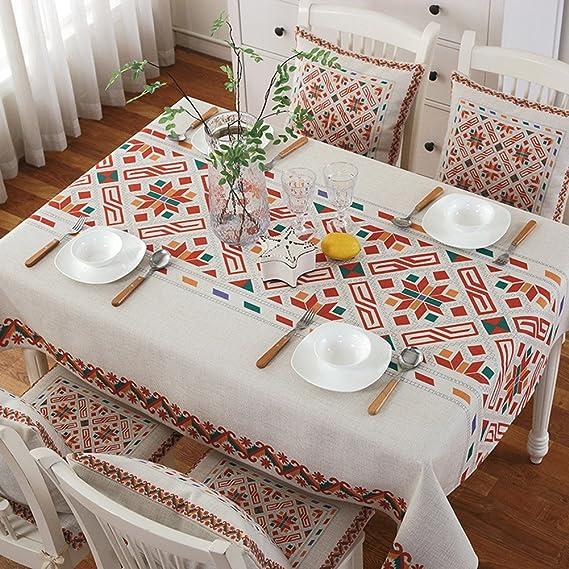 fanjow® Mantel de lino y algodón pesado peso decorativo cubierta ...