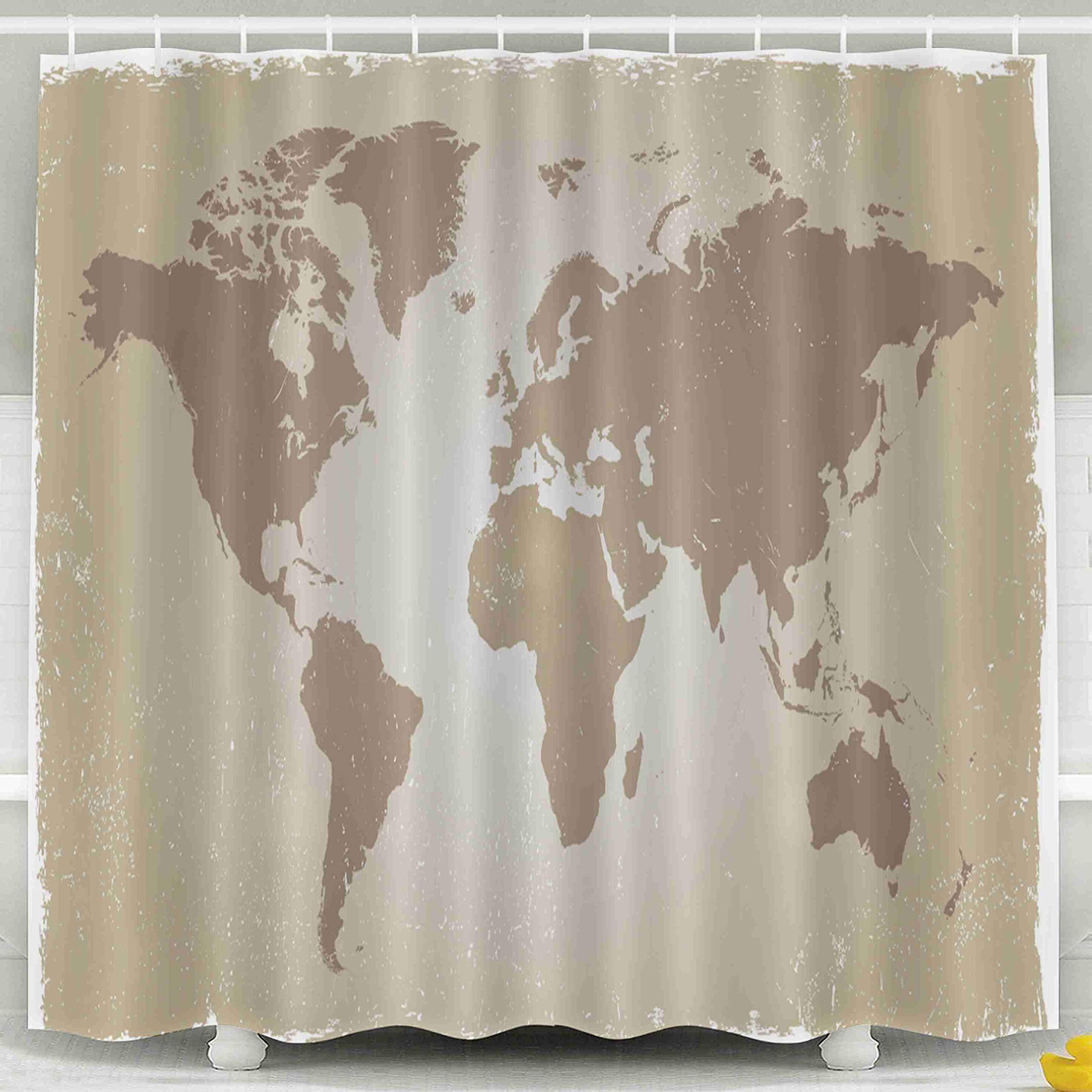 Jacrane Waterproof Fabric Bathroom Clear Shower Curtains Liner with Hooks Grunge World Map 72X72Inch,Yellow Green