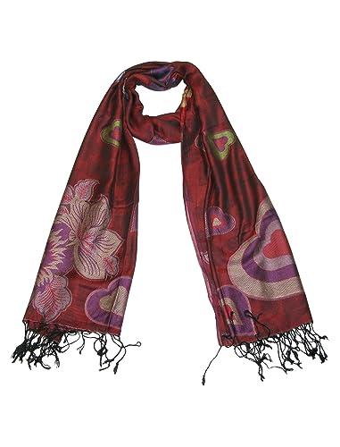 Lovarzi - Bufanda de mujer con patrón de hermosos corazones - corazón preciosas pashminas