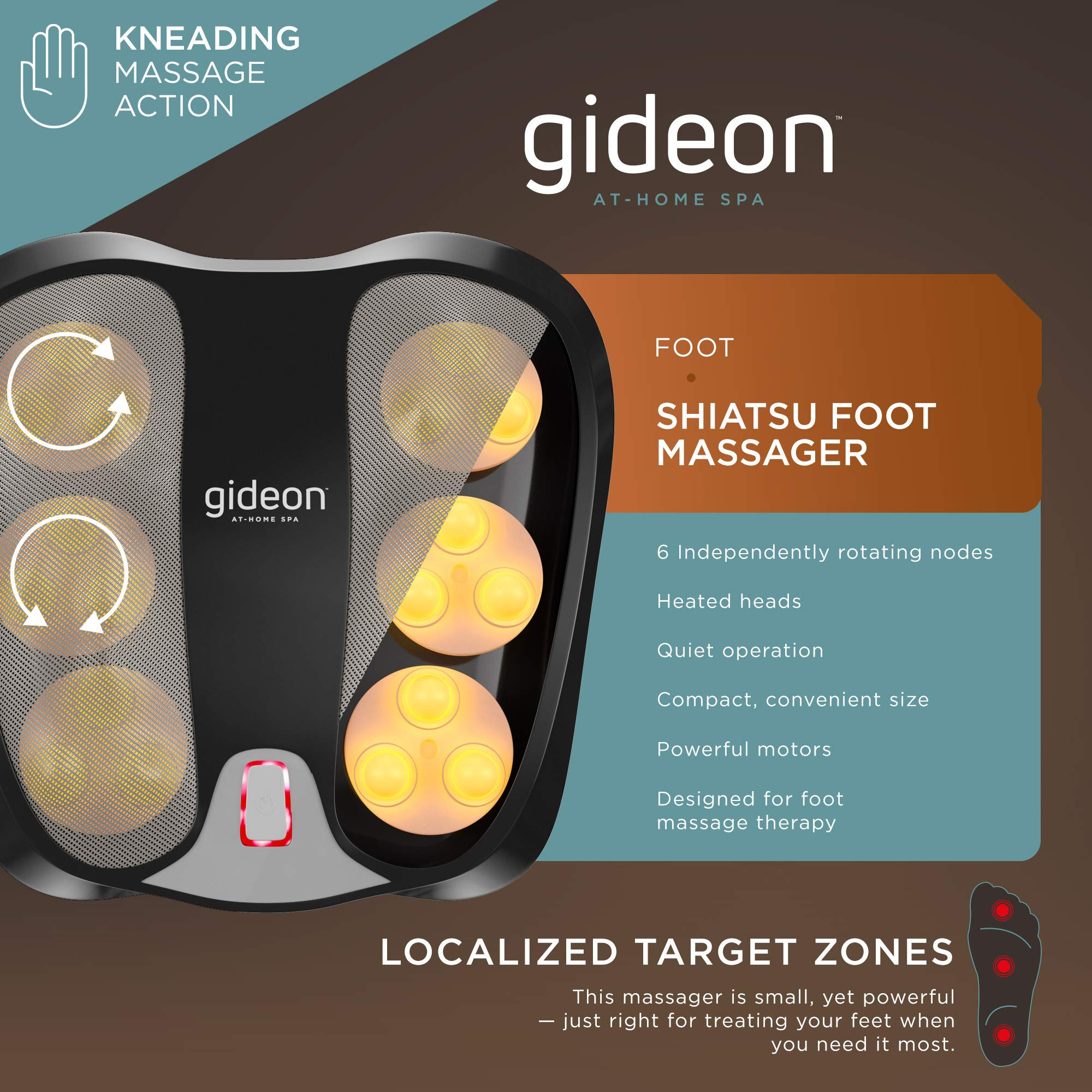 Gideon Shiatsu Foot Massager with Soothing Heat - 18 Deep Kneading Massaging Nodes - Perfect for Relaxation, Plantar Fasciitis, Heal Spur and Other Foot Pain Relief for Home & Office Use