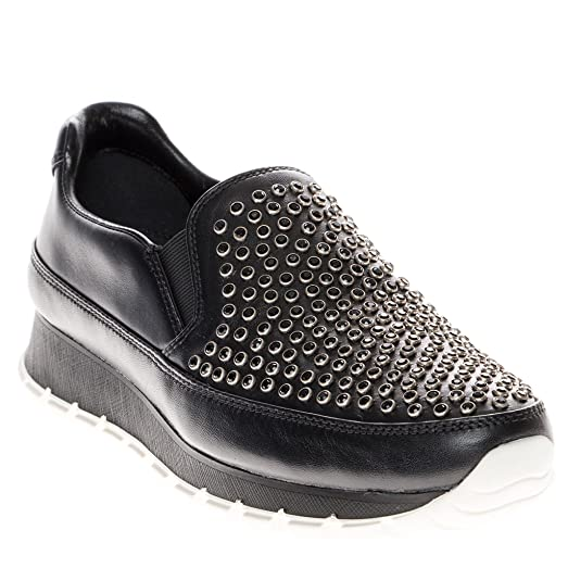 Sneakers - Slip-On Sneaker Studded Leather Black - black - Sneakers for ladies Prada