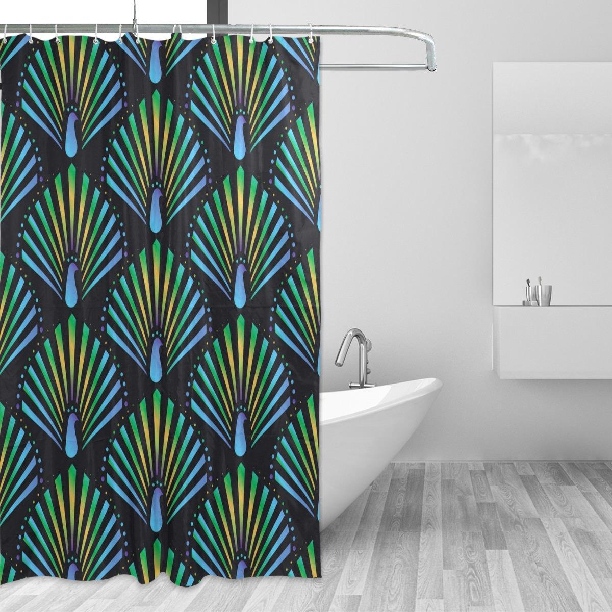 Bathroom Shower Curtain Peacock Print Waterproof Mildew Bath Curtains 12 Hooks