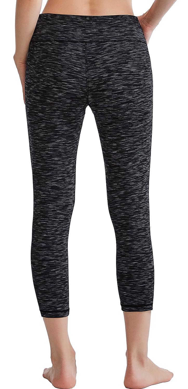 0c175733a7f56 Oalka Women's Yoga Capris Power Flex Running Pants Workout Leggings  Dye-Black XS