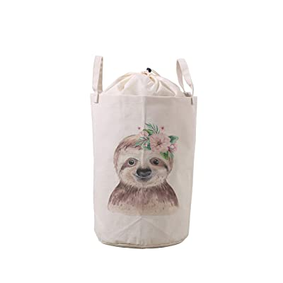LifeCustomize Large Laundry Basket Hamper Cute Baby Sloth Collapsible Drawstring Storage Baskets Nursery Baby Toy Organizer : Baby