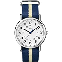 Timex Unisex T2P142GP Weekender White Dial and Nylon Blue and White Strap