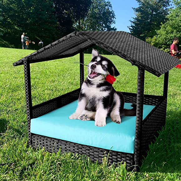 Leaptime Pet Playpens Black PE Wicker with Cushion Outdoor Indoor Use for Small Animals