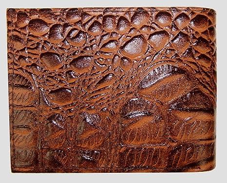 165a6c69fef0 Amazon.com : Mens Genuine Leather Bifold Alligator Skin Print Flip ...
