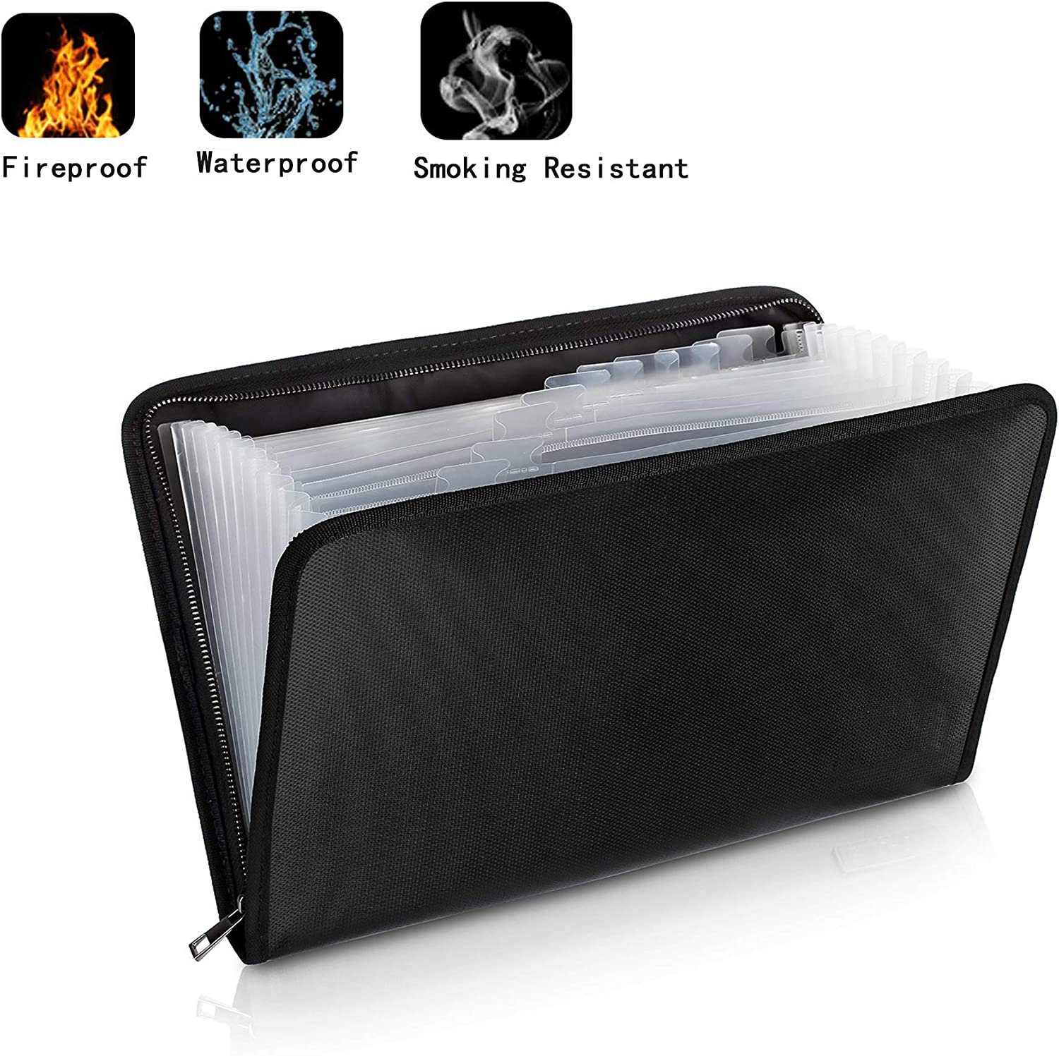 Hengfuntong-Elec Fireproof Document Bag, Fire Resistant Waterproof Bag Cash Money Passport Holder with Multi Pockets Zipper Closure Non-Itchy Silicone Coated for Maximum Protection Black