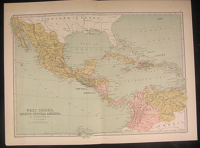 Columbia Mexico Map.Amazon Com Central America Mexico Cuba Colombia C 1873 Antique