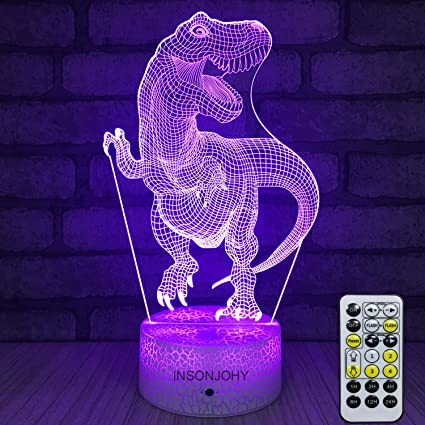 Insonjohy Kids Night Lights Bedside Lamp 7 Colors Change Remote Control Timer 3d Night Light Kids Optical Illusion Lamps Kids Lamp As A Gift Ideas