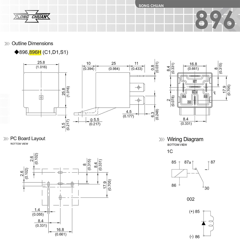 Amazon.com: Song Chuan 896H-1CH-D1 Automotive 30/50A Relays, 12VDC