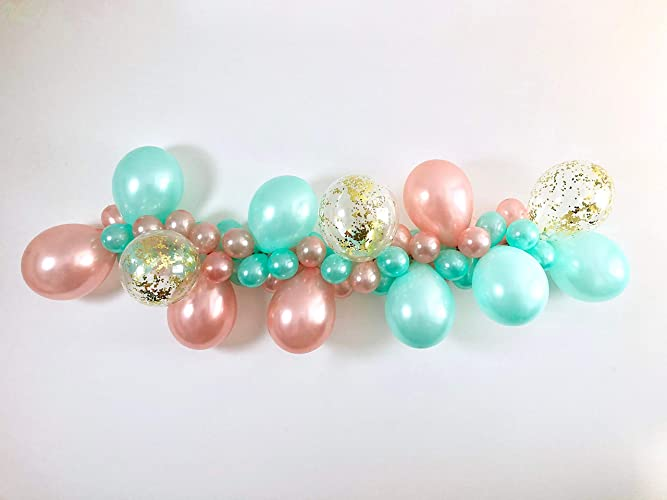 1f3489bea52 Image Unavailable. Image not available for. Color  DIY Rose Gold Mint Gold  Confetti Balloon Garland Kit ...